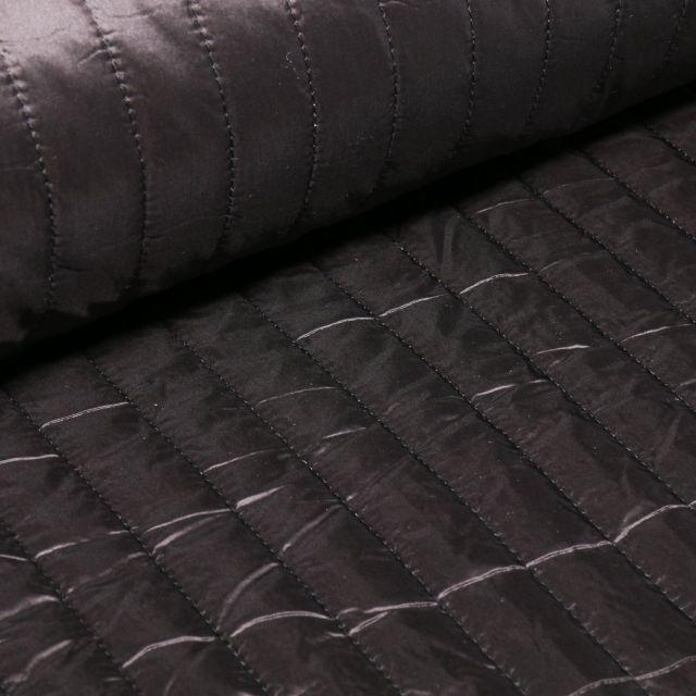 Tissu Doudoune matelassé rayé Noir - Par 10 cm