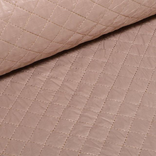 Tissu Doudoune matelassé London uni Beige - Par 10 cm