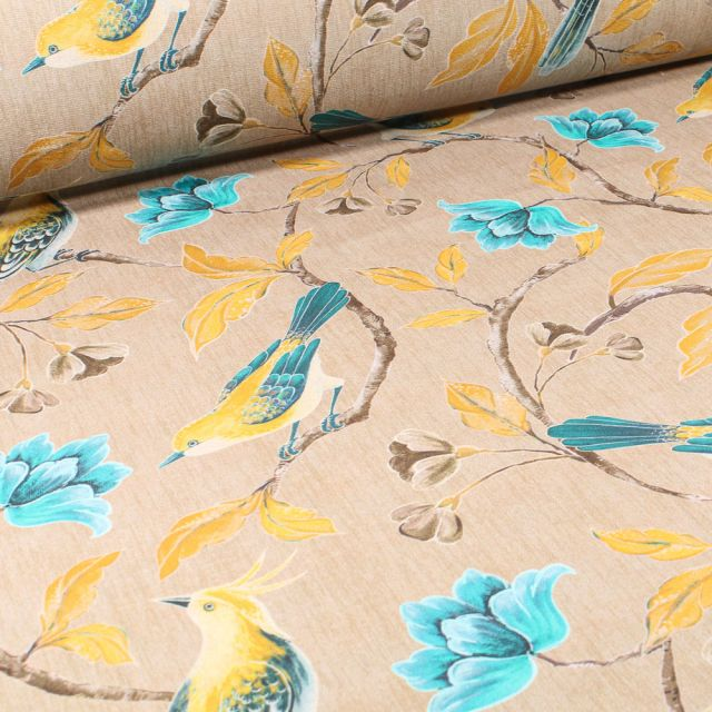 Tissu Velours d'ameublement Oiseaux et fleurs  sur fond Beige