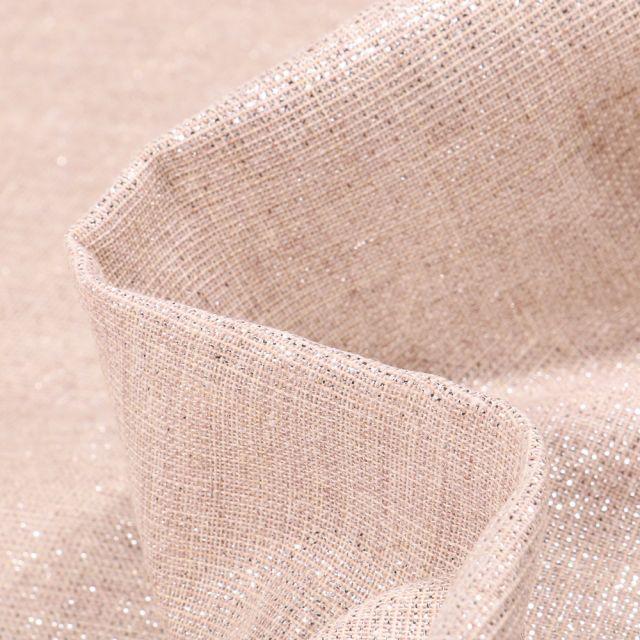 Tissu Voilage aspect lin Métallisé Grande largeur Argent