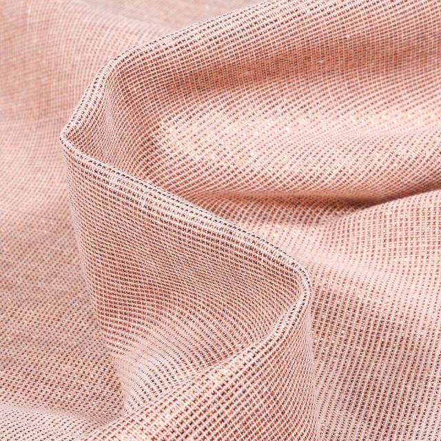 Tissu Voilage aspect lin Métallisé Grande largeur Bronze