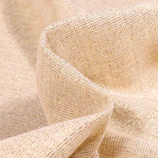 Tissu Voilage aspect lin Métallisé Grande largeur Or