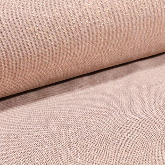 Voilage aspect Lin Grande largeur Lurex Cuivre sur fond Beige - Par 10 cm