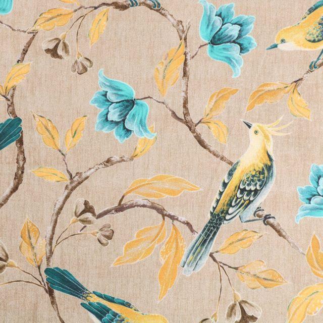 Tissu Velours ras tout doux Oiseaux sur branches fleuries Jaunes et turquoise sur fond Beige chiné - Par 10 cm