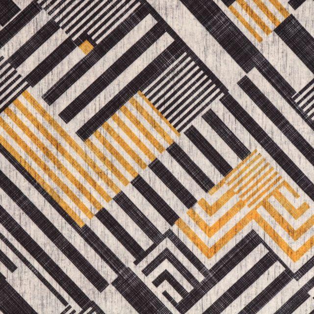 Tissu Velours ras tout doux Marqueterie Noire et jaune sur fond Ecru chiné - Par 10 cm