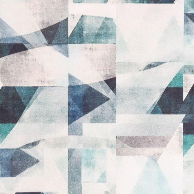 Tissu Velours ras tout doux Nuances graphiques Vertes et grises bleutées sur fond Blanc - Par 10 cm