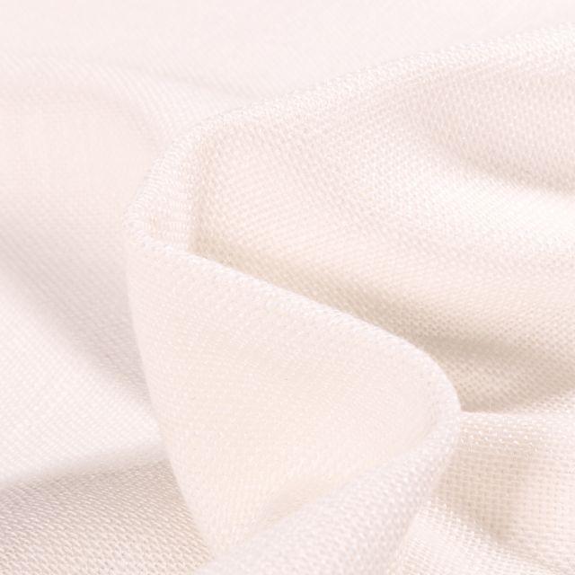 Tissu Toile Casual aspect lin Grande largeur Blanc chiné