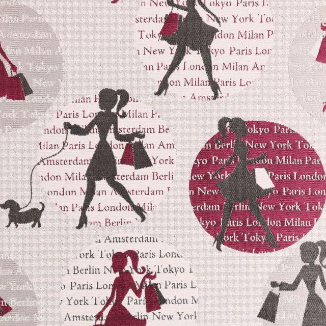 Tissu Jacquard Shopping Girl Taupe et grenat sur fond Beige - Par 10 cm
