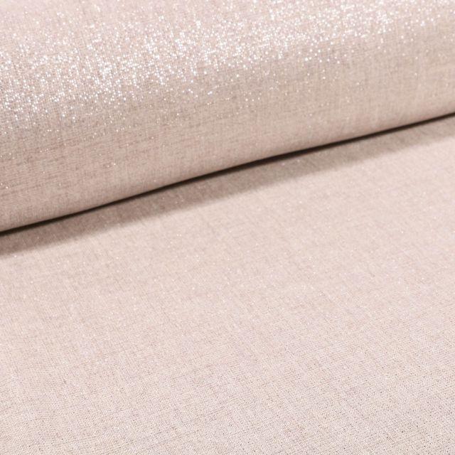 Voilage aspect Lin Grande largeur Lurex Argent sur fond Beige - Par 10 cm