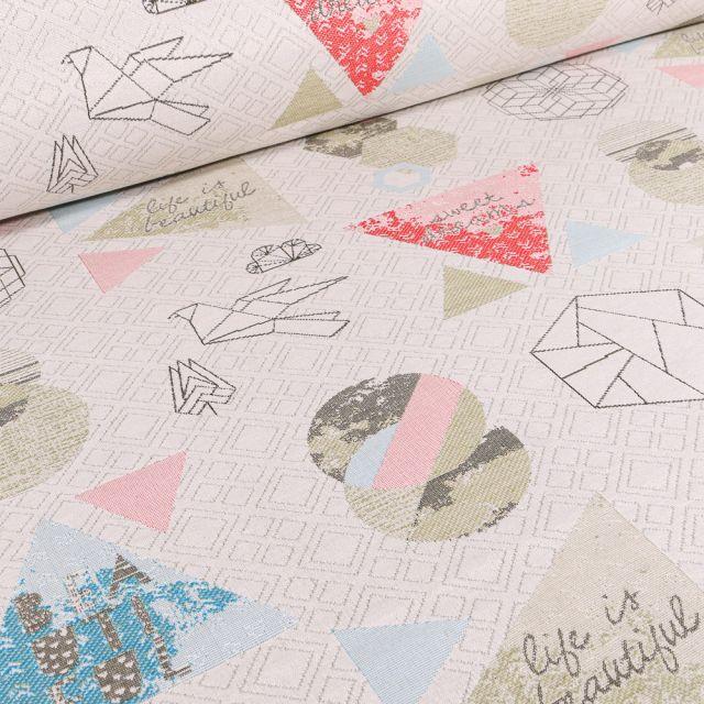 Tissu Jacquard Origami sur fond Blanc cassé
