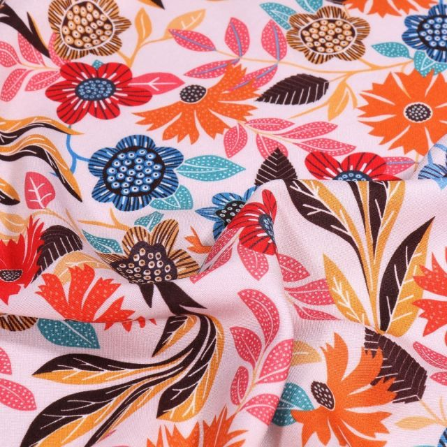 Tissu Viscose Dashwood Studio Gardenia Orange et bleu sur fond Blanc - Par 10 cm