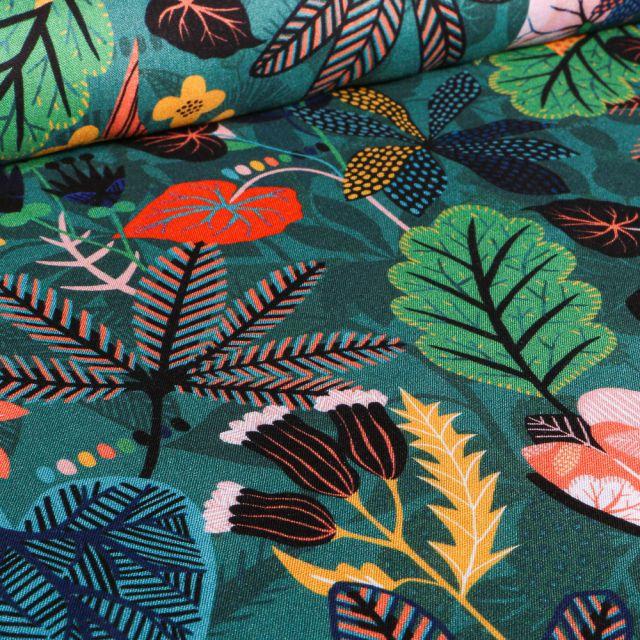 Tissu Viscose Dashwood Studio Végétations tropical sur fond Vert foncé