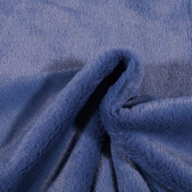 Tissu Fausse fourrure Bear Ultra douce Bleu denim - Par 10 cm