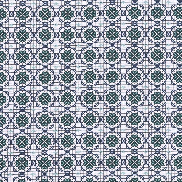 Tissu Coton Imprimé Rosaces bleu marine et vertes sur fond Blanc - Par 10 cm