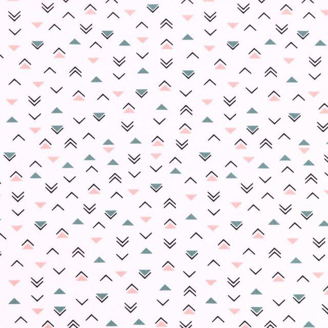 Tissu Coton Imprimé Triangles noirs, vieux rose et verts sur fond Blanc - Par 10 cm