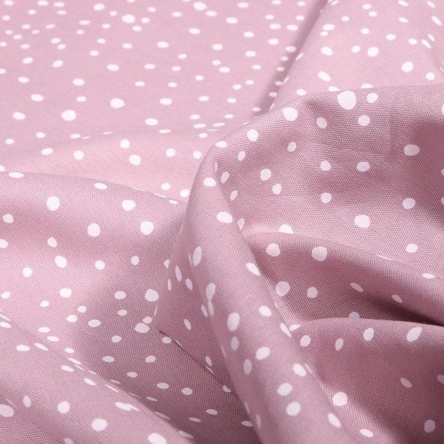 Tissu Coton imprimé Petits pois irréguliers sur fond Rose pâle - Par 10 cm