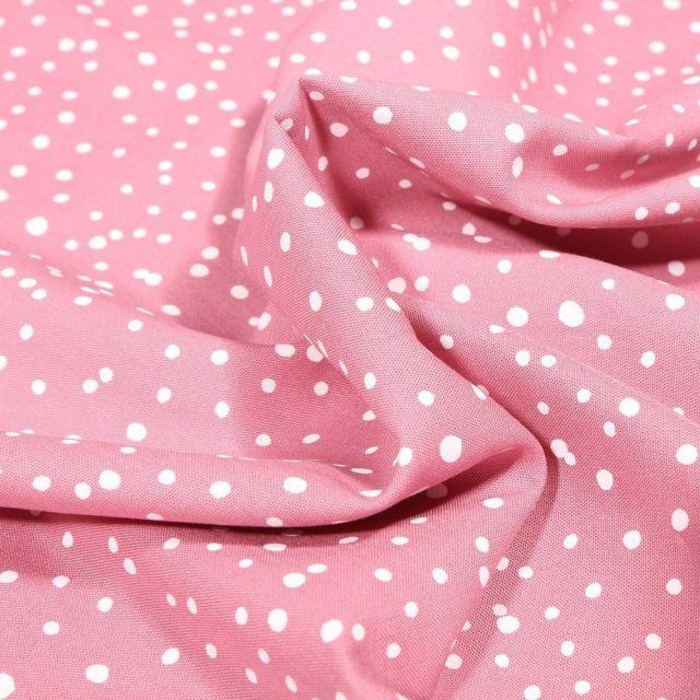 Tissu Coton imprimé Petits pois irréguliers sur fond Rose - Par 10 cm