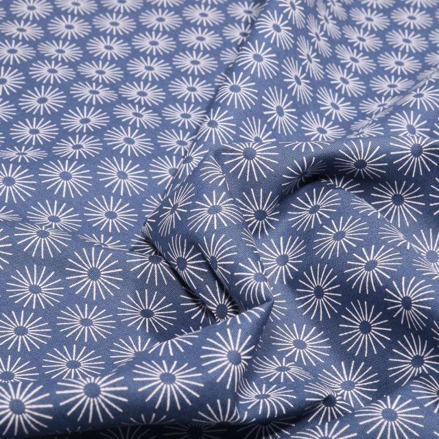 Tissu Coton imprimé Soleils stylisés sur fond Bleu denim - Par 10 cm