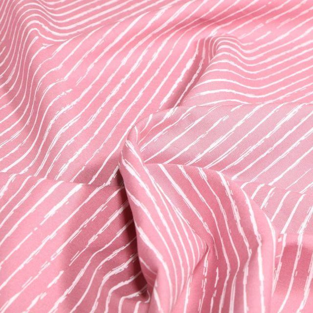 Tissu Coton imprimé Rayures irrégulières sur fond Rose - Par 10 cm