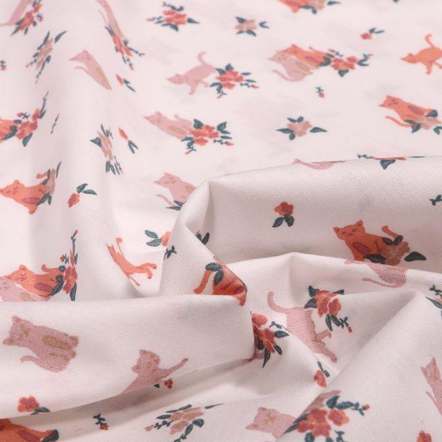 Tissu Coton imprimé Chats roses sur fond Blanc cassé - Par 10 cm