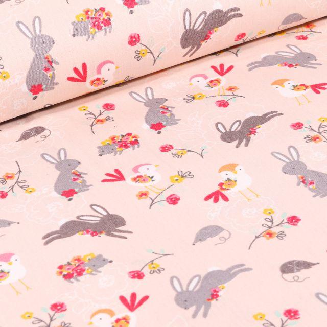 Tissu Coton imprimé LittleBird Lapins et oiseaux sur fond Rose pâle