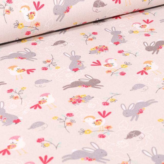 Tissu Coton imprimé LittleBird Lapins et oiseaux sur fond Beige