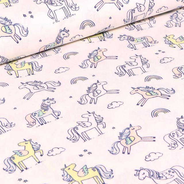 Tissu Coton imprimé LittleBird Licornes et nuages sur fond Blanc