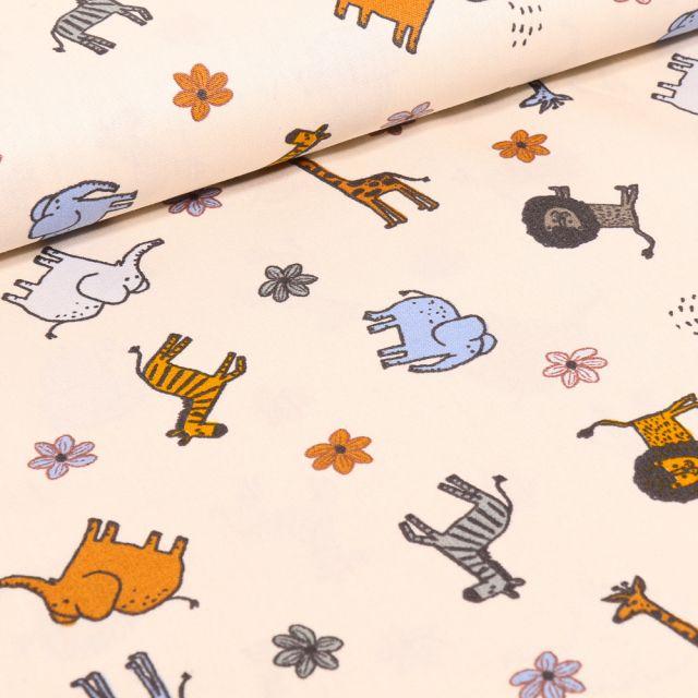 Tissu Coton imprimé LittleBird Animaux  safari sur fond Ecru