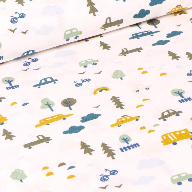 Tissu Coton imprimé LittleBird Voitures et bus sur fond Blanc cassé