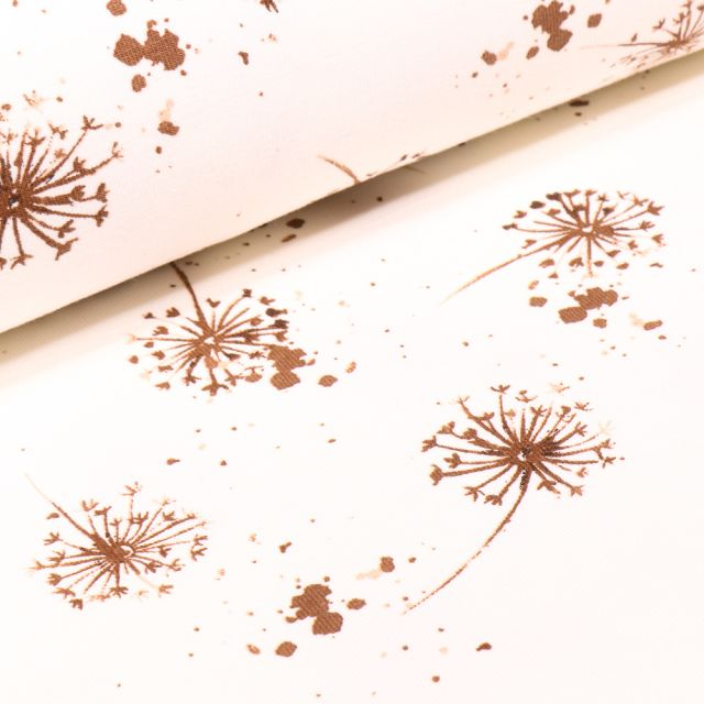 Tissu Jersey Coton Pissenlit marron sur fond Ecru
