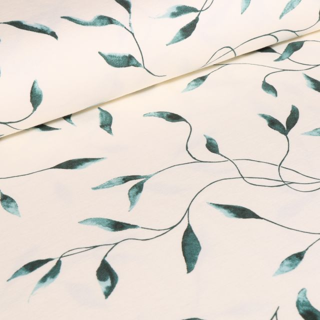 Tissu Jersey Coton Lianes sur fond Blanc cassé