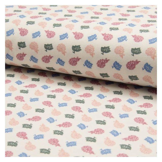 Tissu Jersey Piqué de coton spécial Polo Feuilles et arabesques sur fond Blanc cassé - Par 10 cm