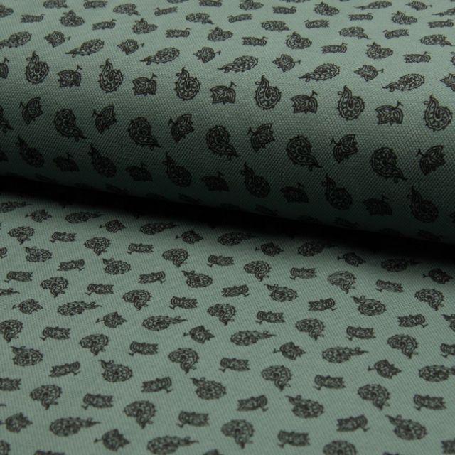 Tissu Jersey Piqué de coton spécial Polo Kashmir Noir sur fond Vert kaki - Par 10 cm