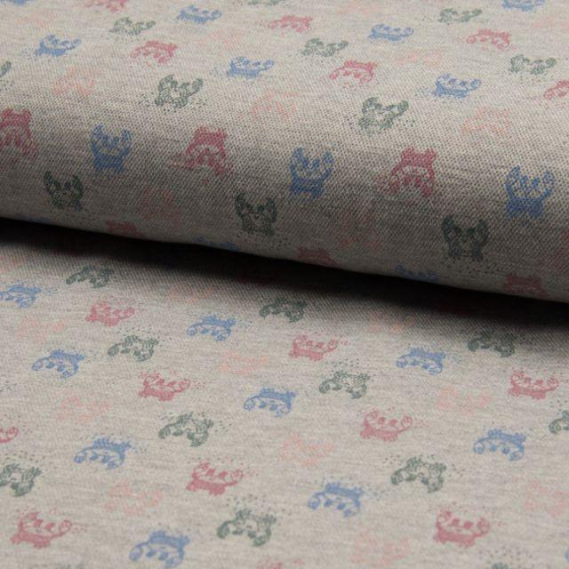 Tissu Jersey Piqué de coton spécial Polo Crabes Multicouleurs sur fond Gris clair - Par 10 cm