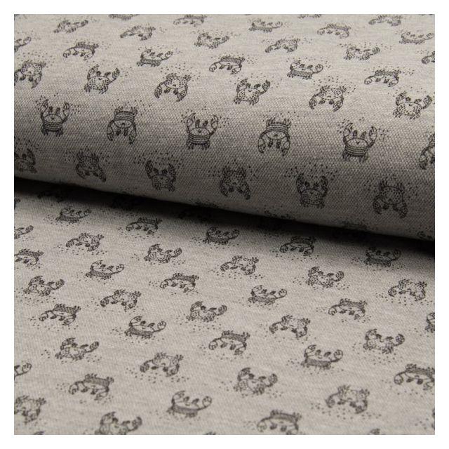 Tissu Jersey Piqué de coton spécial Polo Crabes Noir sur fond Gris clair - Par 10 cm