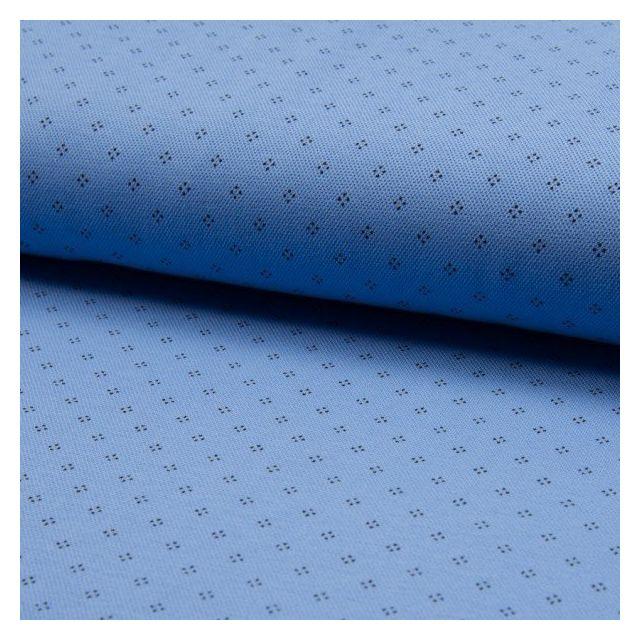 Tissu Jersey Piqué de coton spécial Polo Losange de pois Noir sur fond Bleu   - Par 10 cm