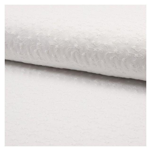 Tissu Broderie anglaise satiné n°650 sur fond Blanc - Par 10 cm