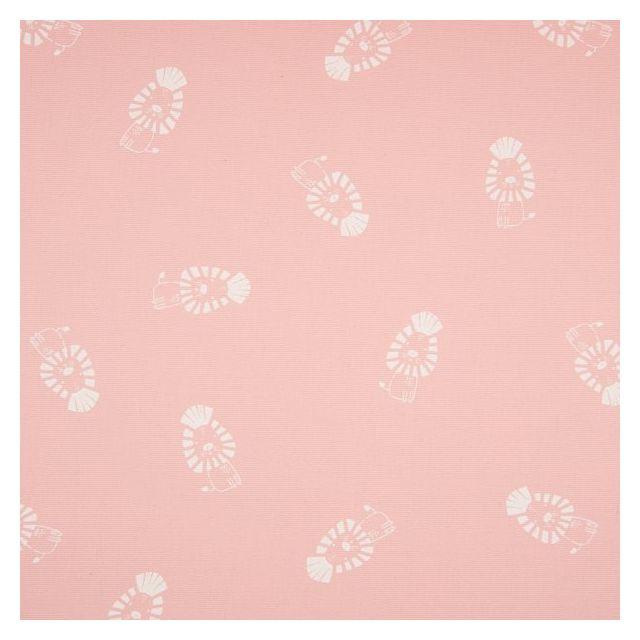 Tissu Toile Coton Canvas Lions enfantins sur fond Rose bébé - Par 10 cm