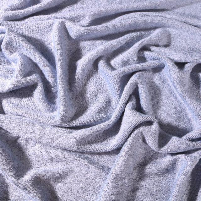 Tissu Eponge Bébé Bambou Tout doux Bleu ciel - Par 10 cm