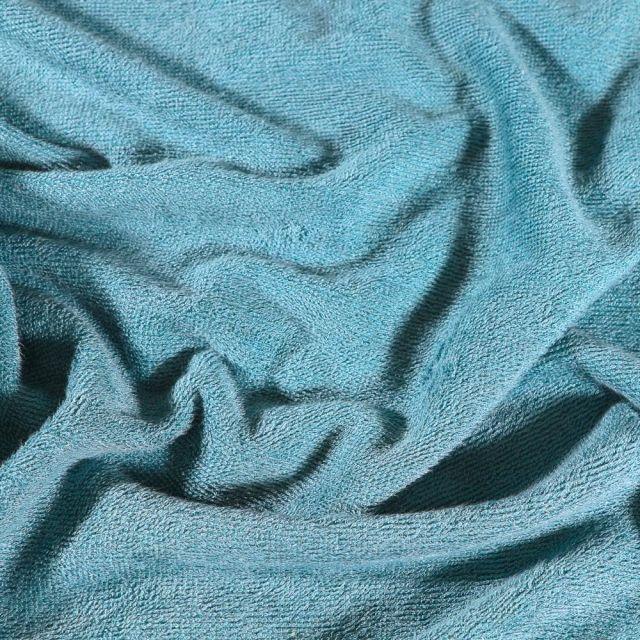 Tissu Eponge Bébé Bambou Tout doux Bleu canard - Par 10 cm