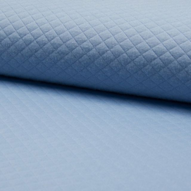 Tissu Sweat léger Matelassé Bleu - Par 10 cm