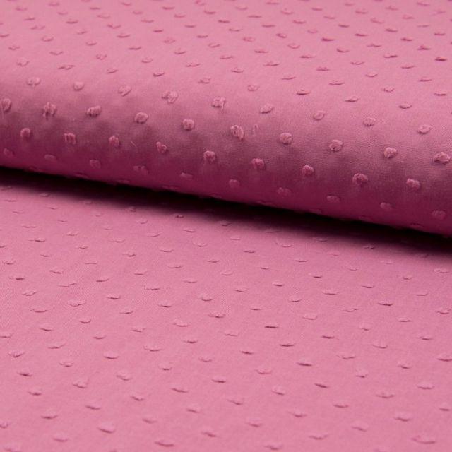 Tissu Plumetis Coton Vieux rose - Par 10 cm