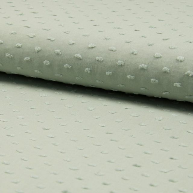 Tissu Plumetis Coton Vert gris - Par 10 cm