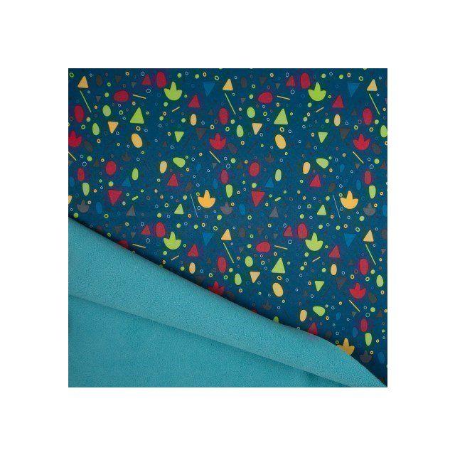 Tissu Softshell envers Polaire Formes géométriques Multicolores sur fond Bleu pétrole - Par 10 cm