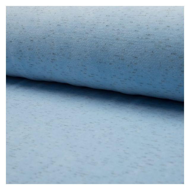 Tissu Jersey Velours chiné Bleu layette - Par 10 cm