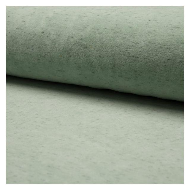 Tissu Jersey Velours chiné Vert d'eau - Par 10 cm