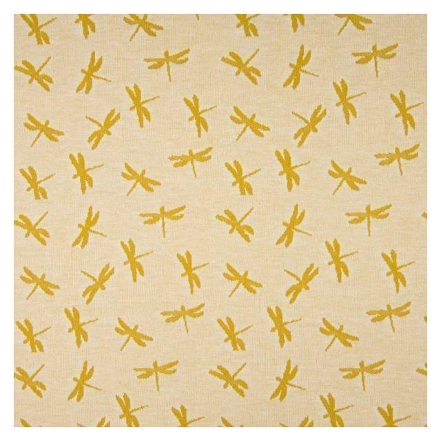 Tissu Jersey Jacquard  Libellules moutarde sur fond Beige chiné - Par 10 cm
