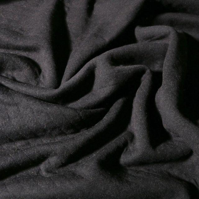 Tissu Sweat léger matelassé Talia Noir - Par 10 cm