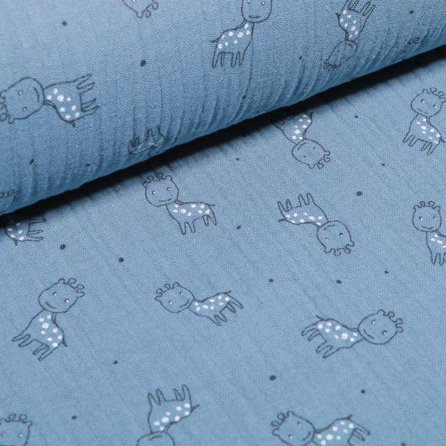 Tissu Triple gaze Girafe sur fond Bleu