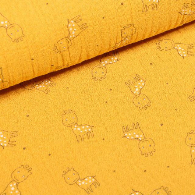 Tissu Triple gaze Girafe sur fond Jaune